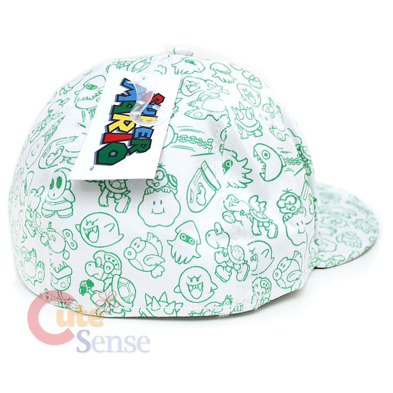 6c11051d8db Super Mario Green Mushroom Flex Fit Hat Nintendo 1 UP Mushroom w All ...