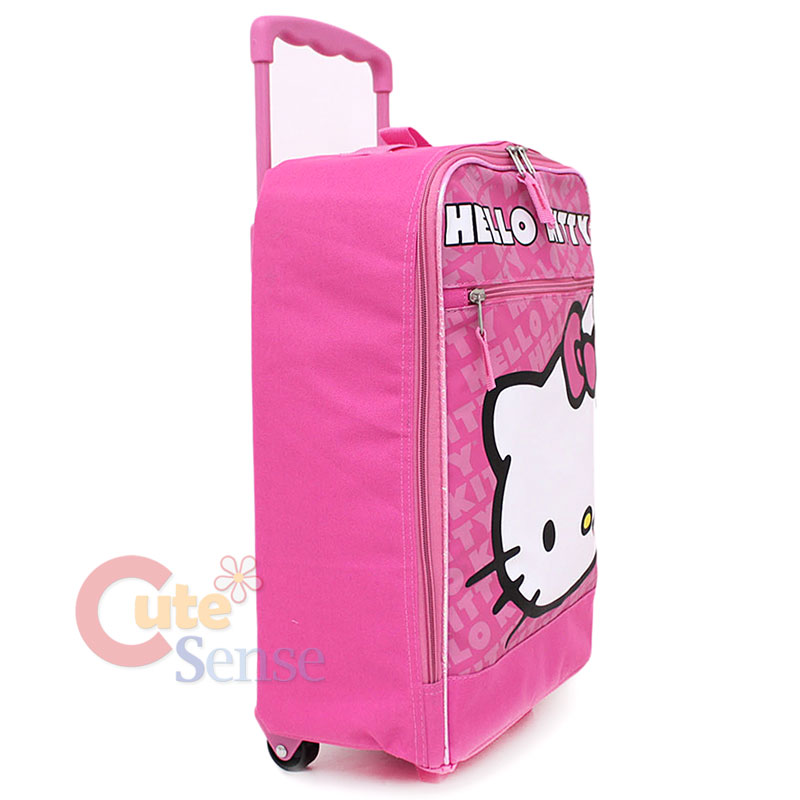 172160eab Sanrio Hello Kitty Hand Carry Luggage Pink Face Roller Trolley Bag 16 5