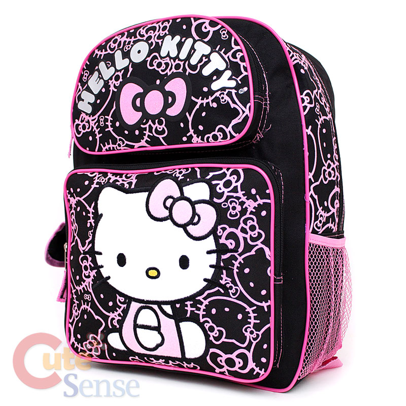 "Sanrio Hello Kitty School Backpack 16"" Large Bag Black ..."