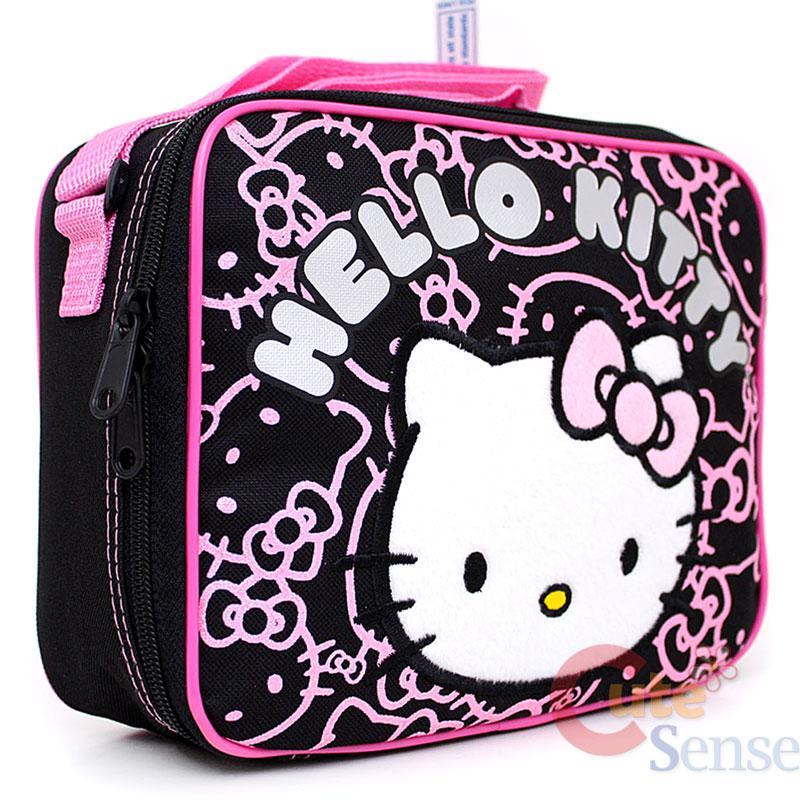 Sanrio Hello Kitty School Lunch Bag / Snack Box Black Pink Glittering