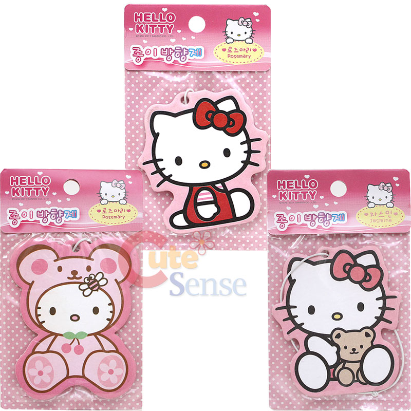 Sanrio Hello Kitty Paper Hanging Air Freshener Kitty Bear 3pc Auto ...