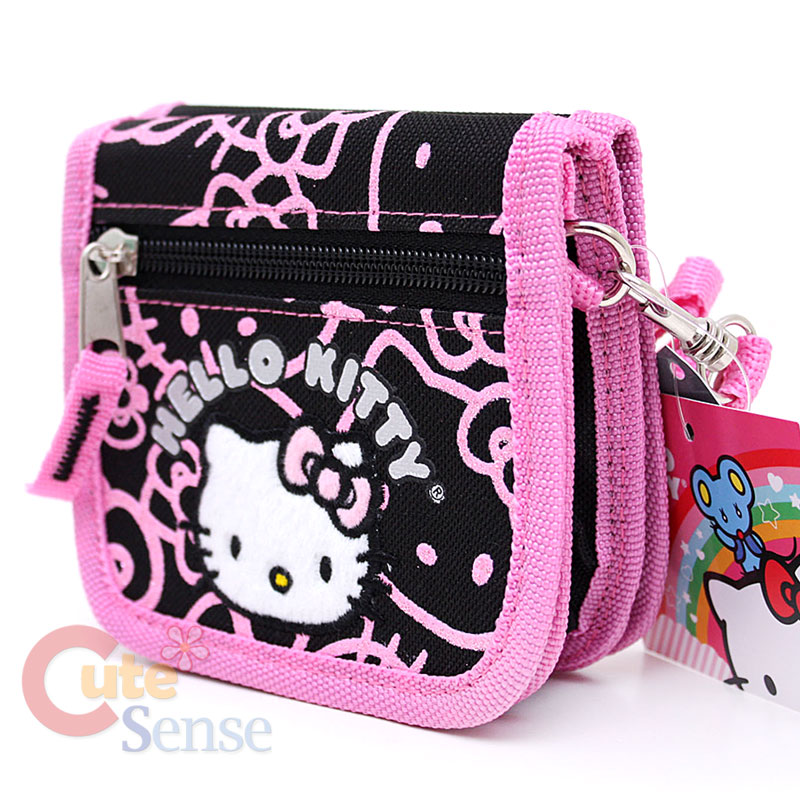 fe158c087790 Sanrio Hello Kitty Wallet Mini Shoulder Bag Black Pink Glittering Face