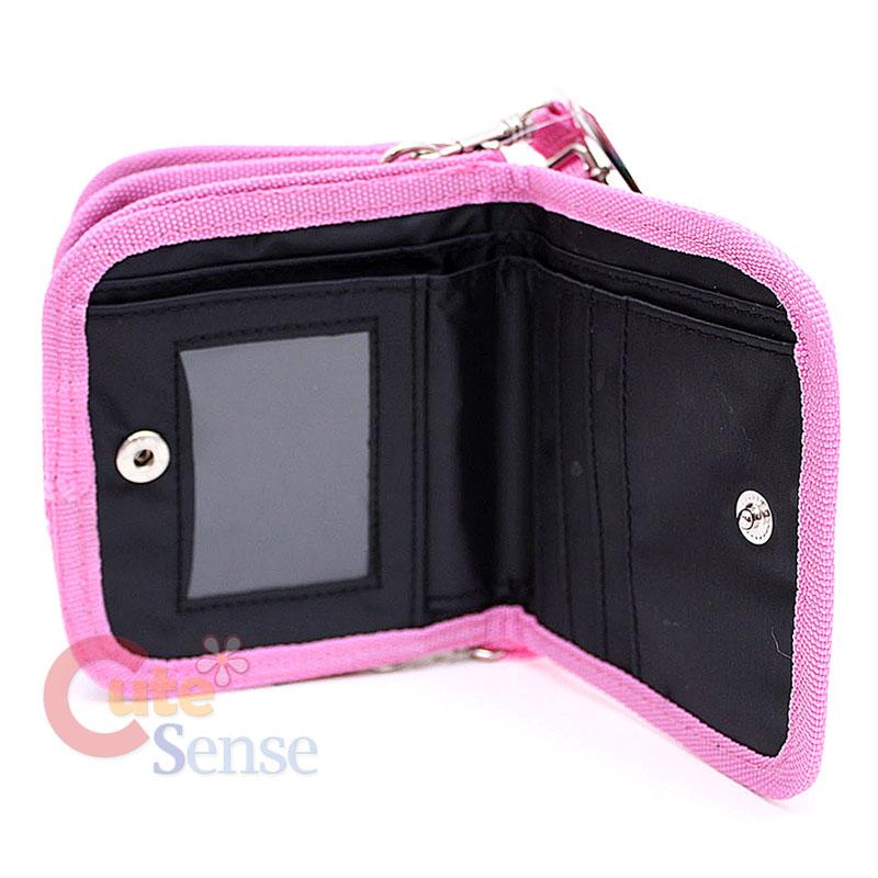 Sanrio Hello Kitty Kids Wallet Hand Bag Gilttering Face Black Pink 4