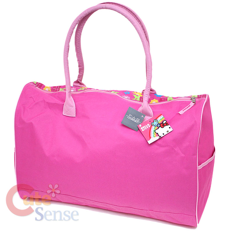 88370977cecc Sanrio Hello Kitty Duffle Bag   Travel   Gym 20 Large Pink Flowers ...