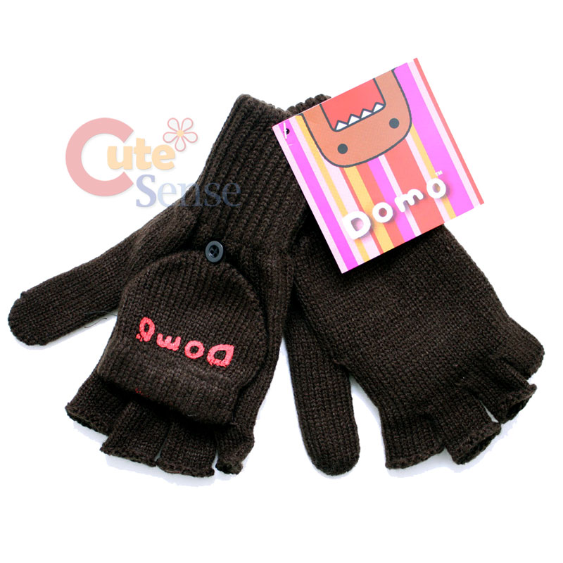 Domo Kun Knitted Fingerless Glove with Mitten Top Cover ...