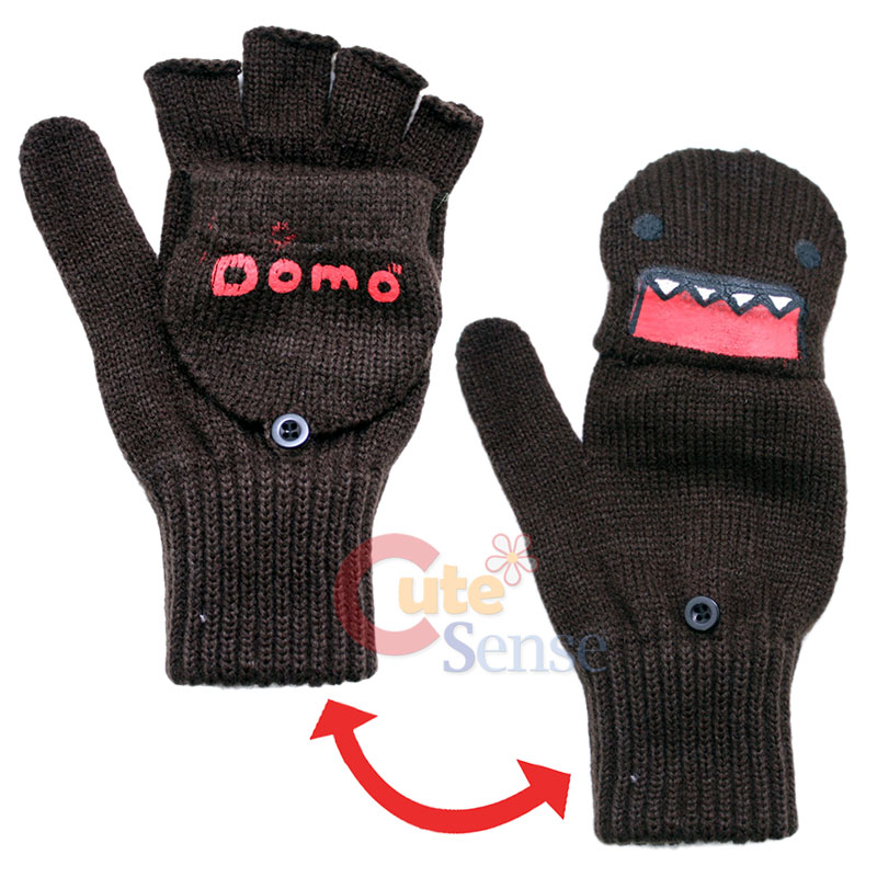 Knitting Patterns For Fingerless Gloves With Mitten Cover : Domo Kun Knitted Fingerless Glove with Mitten Top Cover ...