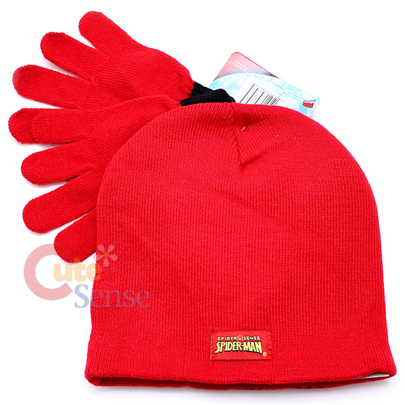 6824a6ad Marvel SpiderMan Gloves & Beanie Hat Set Red Big Face ,Knitted on ...