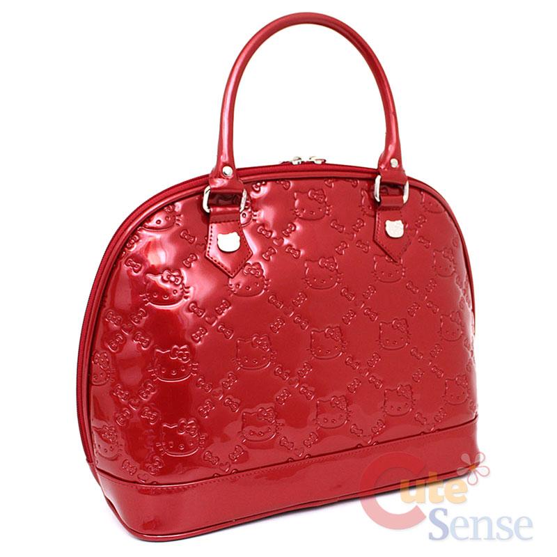 Sanrio Hello Kitty Embossed Hand Bag   Metallic Red Loungefly Bag