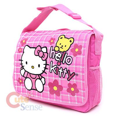Sanrio Hello Kitty School Messener Bag Diaper Bag Pink Teddy Bear 2.jpg