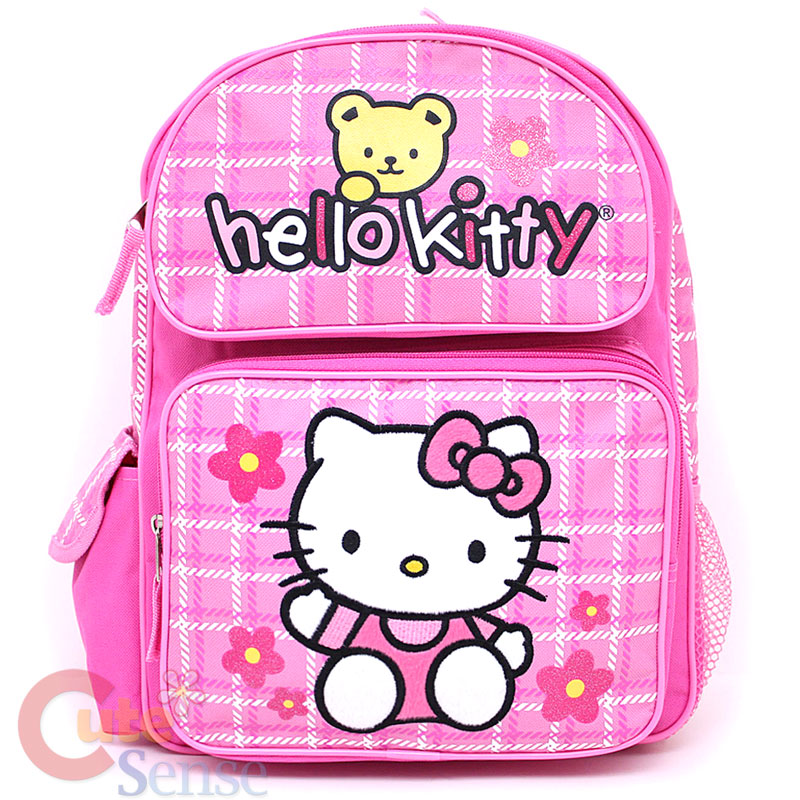 164d45218e Sanrio Hello Kitty School Backpack 16 Large Bag Pink Flowers Teddy ...