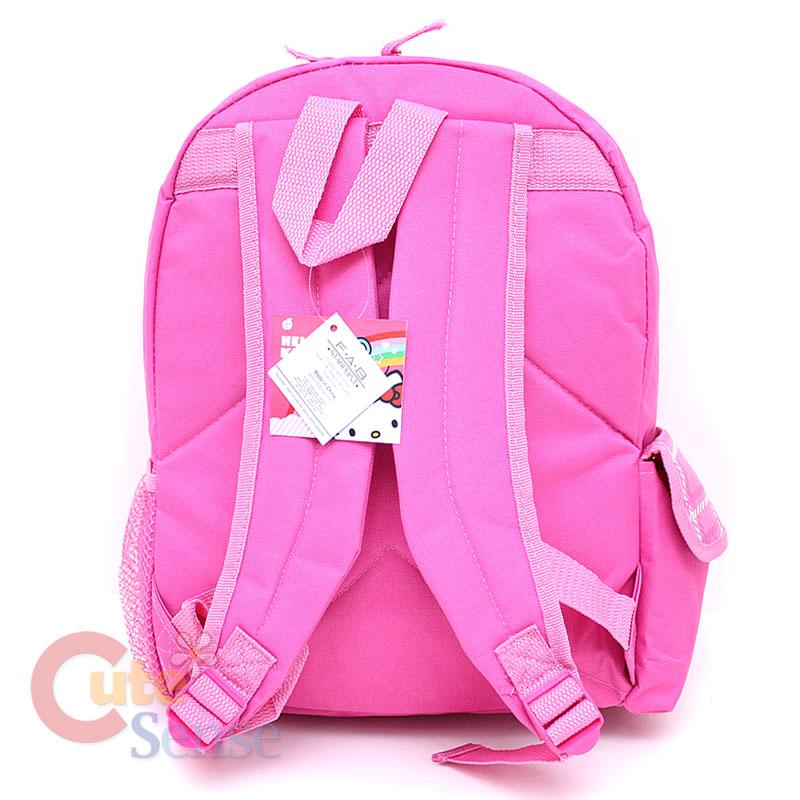 Sanrio Hello Kitty School Backpack 16 Large Bag  Pink Flowers Teddy