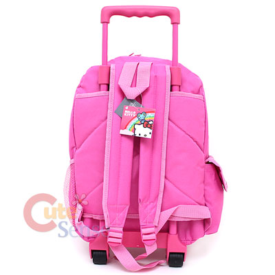 Sanrio Hello Kitty Large Rolling Backpack School Roller Bag Teddy Bear