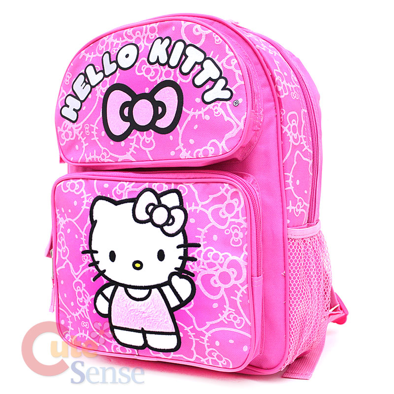 Sanrio Hello Kitty School Backpack 14 Medium Bag  Pink Glittering