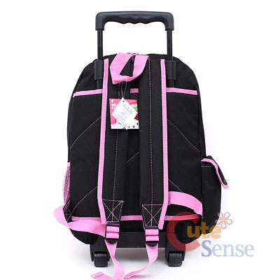 Sanrio Hello Kitty school Roller Backpack Rolling Bag black pink Love