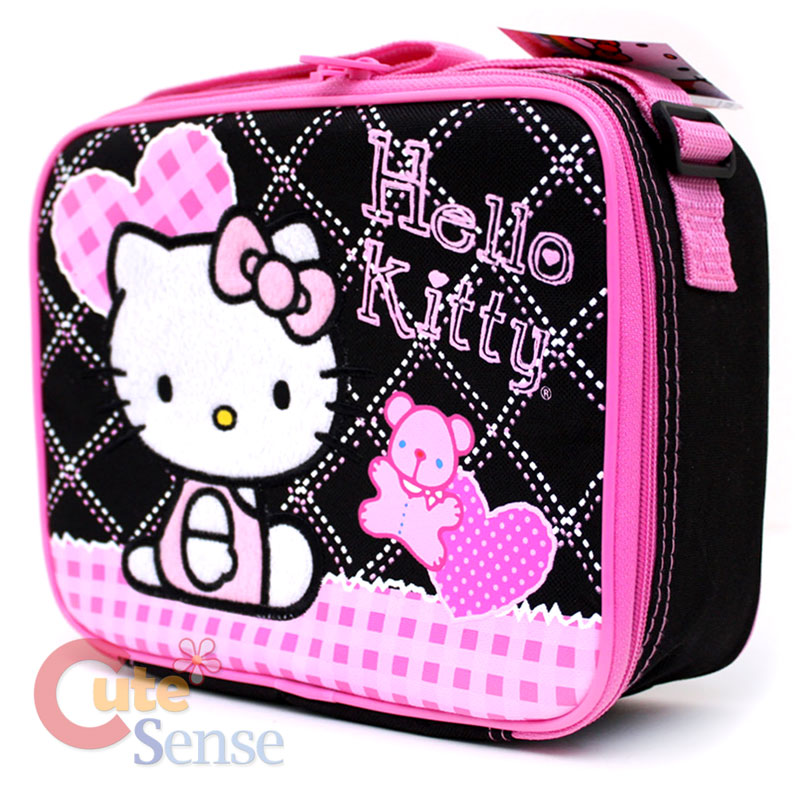 Sanrio Hello Kitty school Roller Backpack Lunch Bag black pink Love ...