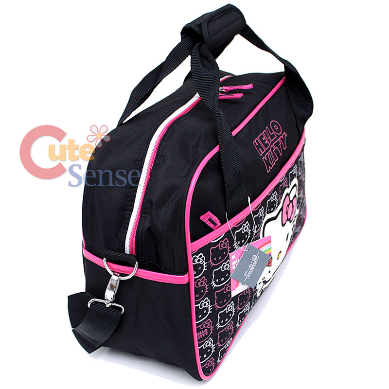 0a53338c3d80 Sanrio Hello Kitty Duffle Bag Travel Gym Bag Large Face Black Pink ...