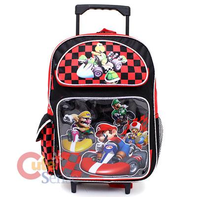 Super Mario Wii Kart School Roller Backpack Rolling Bag 1