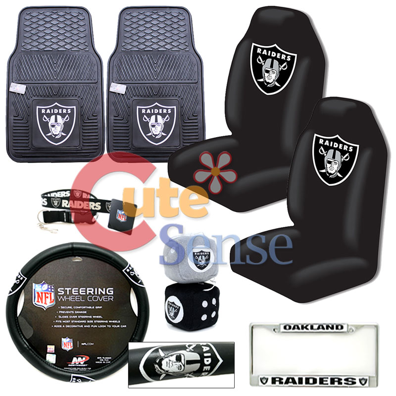 nfl oakland raiders car seat cover auto accessories 8pc set w rubber mat ebay. Black Bedroom Furniture Sets. Home Design Ideas