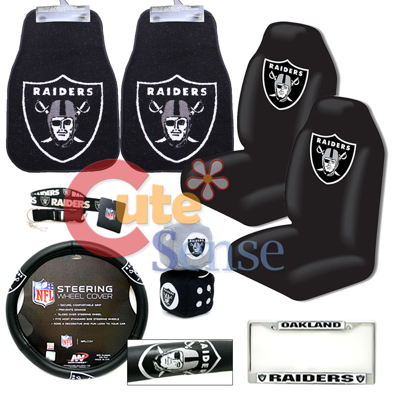 NFL Oakland Raiders Car Seat Cover Set Auto Accessories Carpet Floor