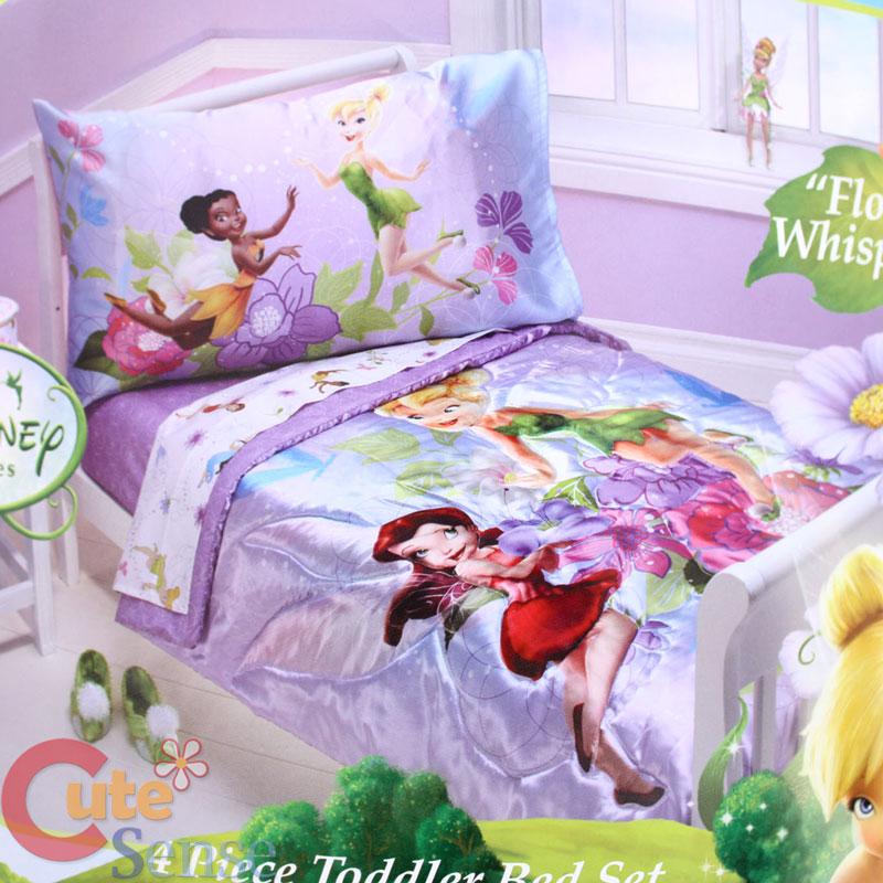 disney tinkerbell fairies toddler bedding comforter set - 4pc | ebay