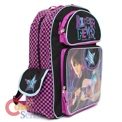 Side School Bags on Justin Bieber School Backpack16  Large Bag Bieber Fever Purple