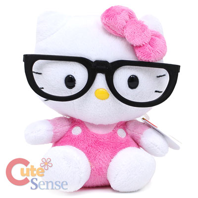 Sanrio Hello Kitty Nerd Plush Doll with Glasses  Licensed Pink Bean