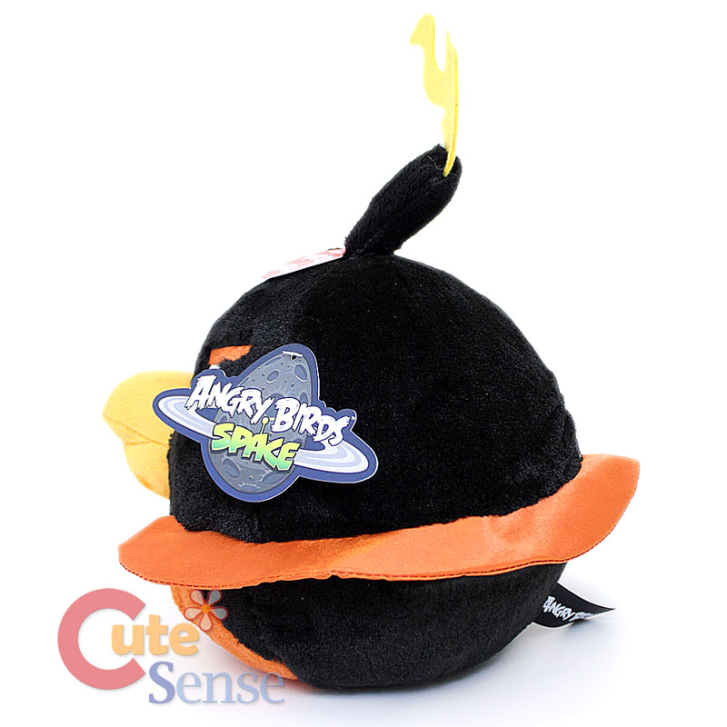 Angry Birds Space Fire Bomb Black Bird Plush Doll 8 Large w/ SOUND