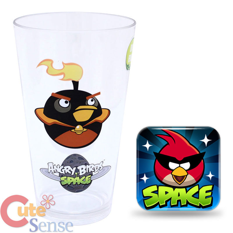 Birds space tumbler clear drink cup fire bomb black bird licensed