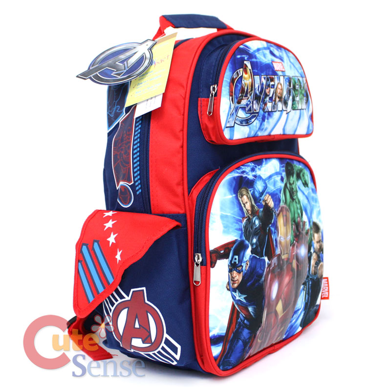 Marvel Avengers School Backpack Lunch Bag Iron Man Hulk Bag 2.jpg