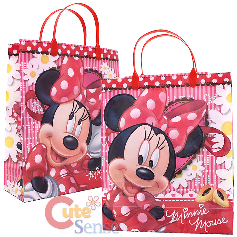Disney Minnie Mouse Party Gift Bag 6pc Plastic Reusable Tote Bag
