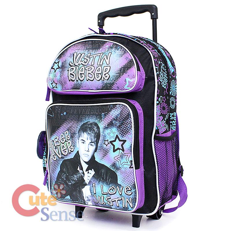 justin bieber school roller backpack 16 u0026quot  large rolling bag i love justin