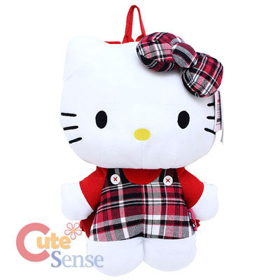 Sanrio Hello Kitty Plush Backpack Costumes Bag  Red checkered