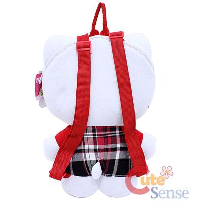 Sanrio Hello Kitty Plush Backpack Red Checkered Plush costume Bag 2