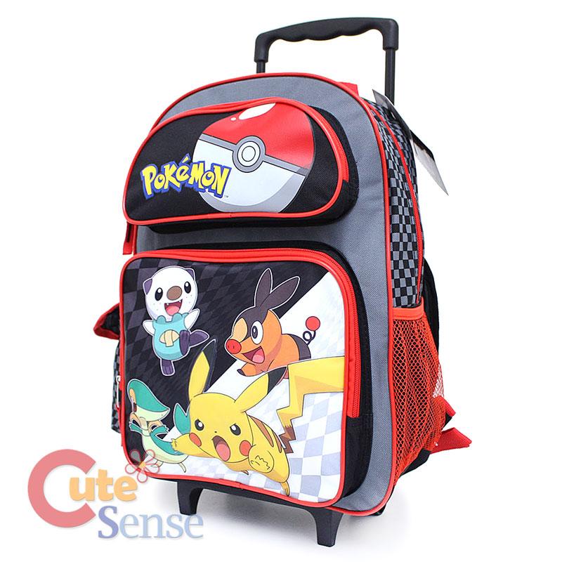 Pokemon Backpack - Pokemon Black And White School Large Roller Backpack Book Bag