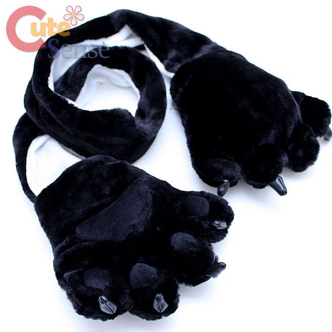 Black Bear Big Paw Fluffy Plush Gloves with Scarf Animal Big Foot Gloves