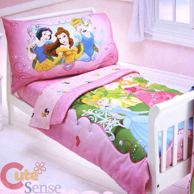 Disney princess toddler bedding set 4pc microfiber bed set cinderella