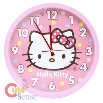 Sanrio Hello Kitty Pink Dots Wall Clock Slient Movement Watch 1.jpg