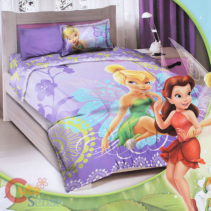 Disney Tinkerbell Fairies Twin Bedding Comforter Set 3pc