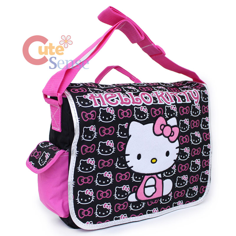 Hello Kitty School Messenger Bag Mini Faces   Pink Black Diaper Bag ... abed0f218a3be