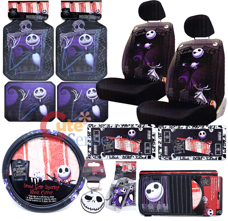Nightmare Before Christmas Jack Low Back Car Seat Cover Set License Plate Frame 1