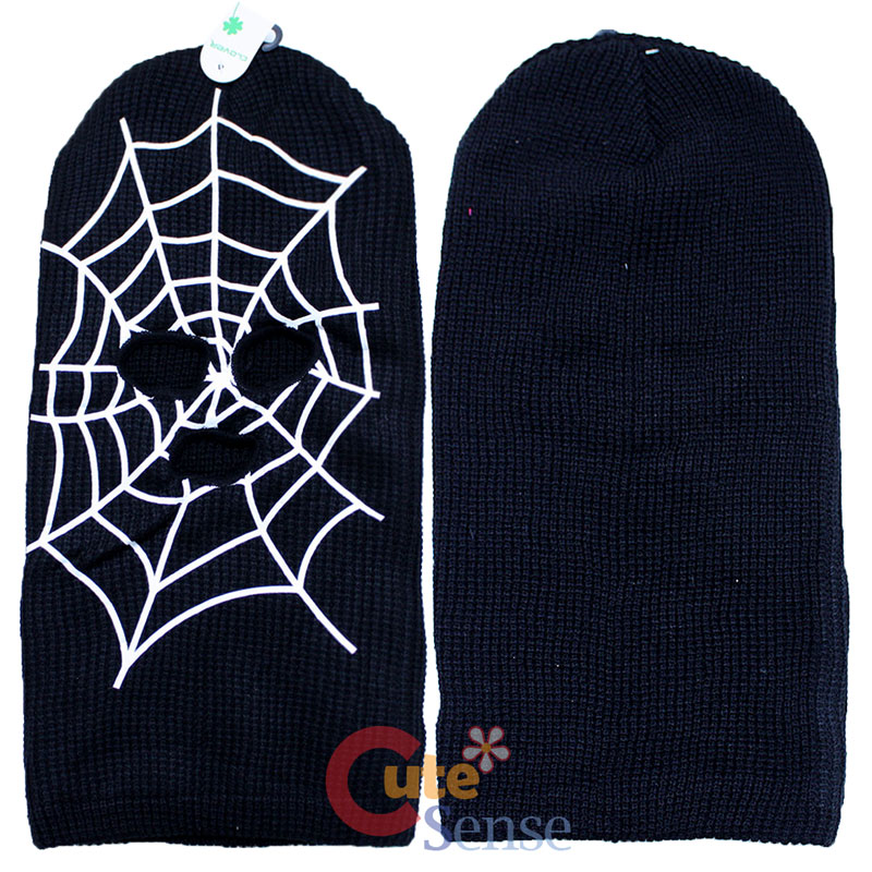 Black Spider Web Mens Ski Mask Beanie with Mouse Eyeholes ...