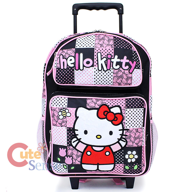 Sanrio Hello Kitty Large School Roller Backpack Lunch Bag Set :Black ...