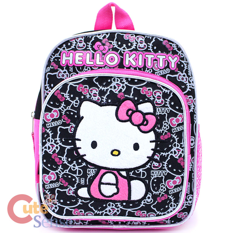 Sanrio Hello Kitty School Backpack Toddler 10 Bag Black Pink Face All