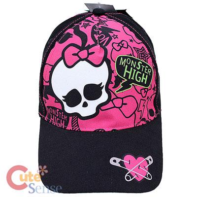 251dfb4e395 Monster High Skull Logo Baseball Cap Kids Adjustable Hat   Pink Black
