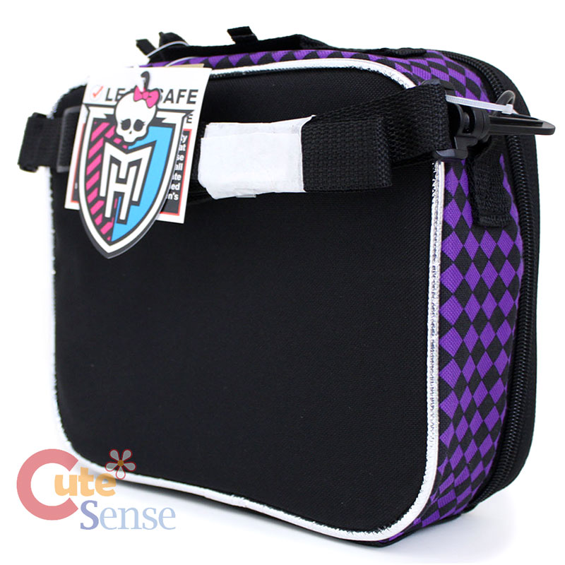 Monster High School Lunch Bag Snack Bag Purple Checkered 3.jpg