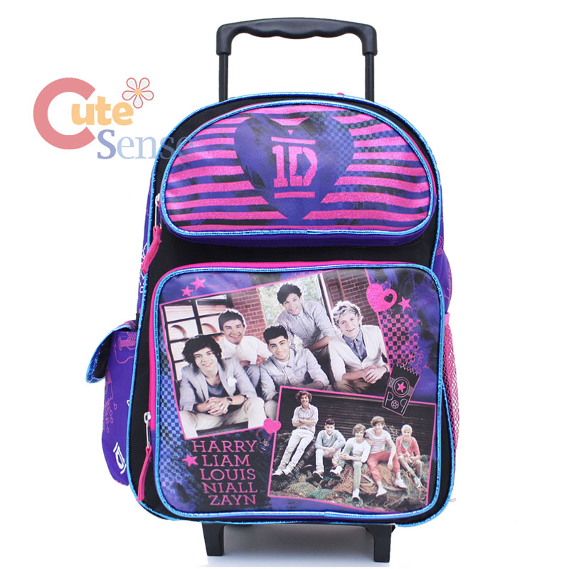 One Direction School Large Roller Backpack Rolling Bag Purple Star 1D ...