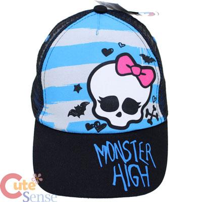 920be312b4d Monster High Skull Mesh Back Baseball Cap Kids Adjustable Hat   Blue Stripe