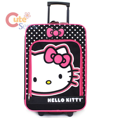 Hello Kitty Luggage Trollery Roller Bag Canvas Polka Dots 1.jpg