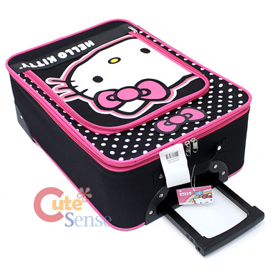 Hello Kitty Luggage Trollery Roller Bag Canvas Polka Dots 3.jpg
