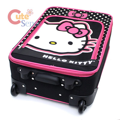 Hello Kitty Luggage Trollery Roller Bag Canvas Polka Dots 4.jpg
